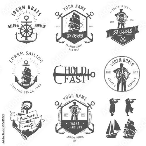 Fotografia  Set of vintage nautical labels, icons and design elements