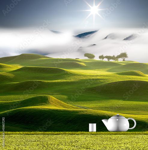 dzbanek-do-herbaty-z-ladne-zielone-tlo