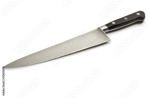 Fotografia close up of a used knife on white background