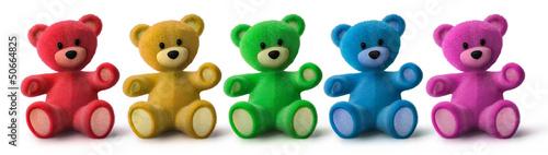 Fotografie, Obraz  5 bunte Teddys