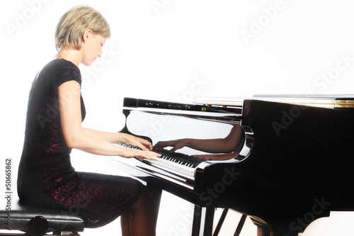 Fotografie, Obraz  Piano playing pianist player with grand piano