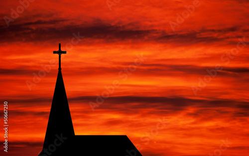 Cuadros en Lienzo Church spire - religious church building silhouetted