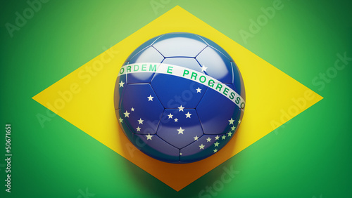 Photo sur Aluminium Brésil Brazilian Flag Soccer Ball