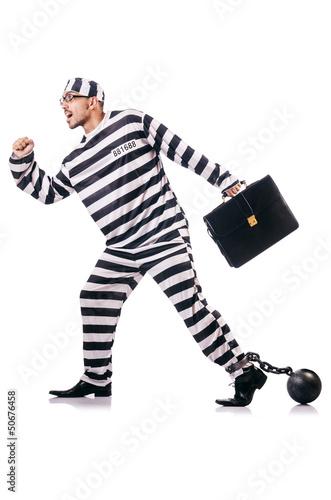 Fotografia  Convict criminal in striped uniform