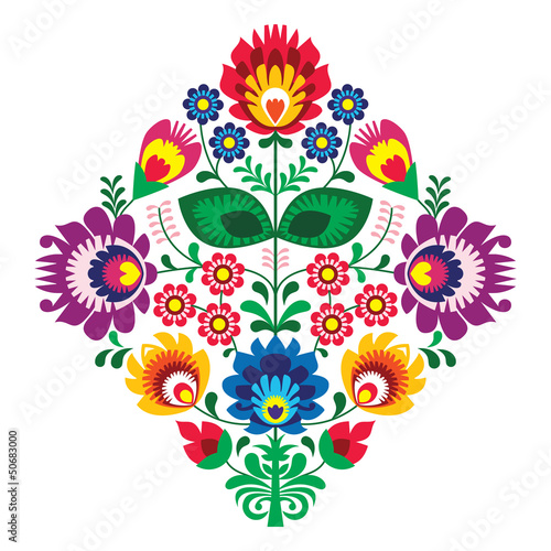 Canvas Print Folk embroidery with flowers - traditional polish pattern