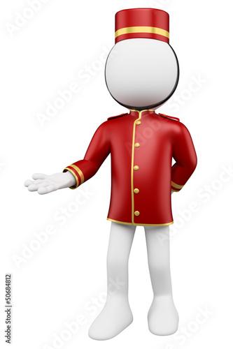 Fotografie, Obraz  3D white people. Bellboy welcoming