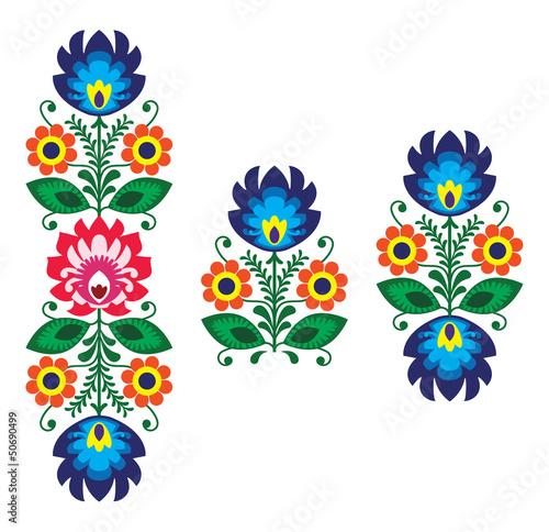Fototapety do łazienki   haft-ludowy-z-kwiatami-tradycyjny-polski-wzor