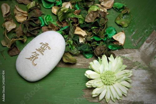 Fotografie, Obraz  Reiki und Blume / zelená