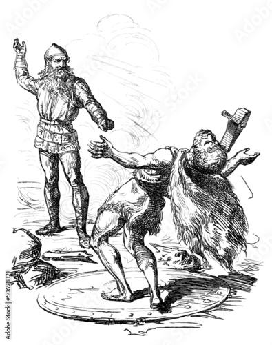 Photo  Germanic God Thor : killing an enemy