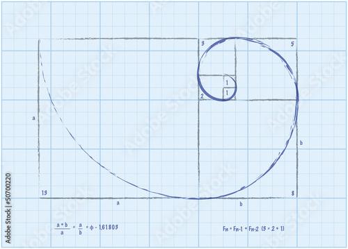 Photo  Fibonacci Sequence - Golden Spiral Sketch