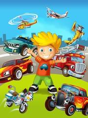 Vozila - naljepnica s djetetom - ilustracija