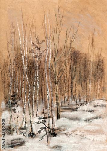 Nowoczesny obraz na płótnie Snow wood