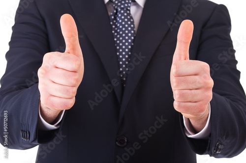 Fotografía  Business man showing thumbs up sign.