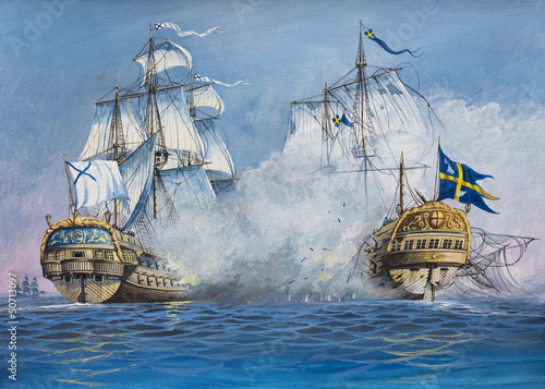 Canvas Print Battle of Sailing Ships