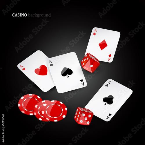 Poster Rouge, noir, blanc Vector illustration of casino elements