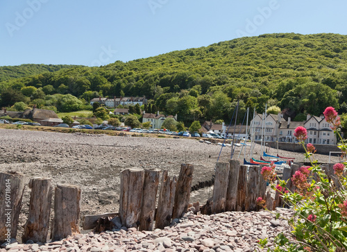 Wall Murals Northern Europe View of Porlock Weir and Harbour in Devon UK