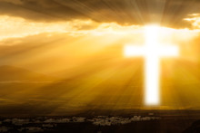 Religious Cross  Glowing In He...