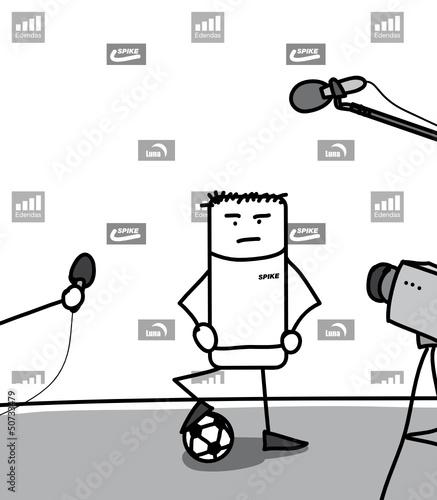 Joueur de football en conférence de presse