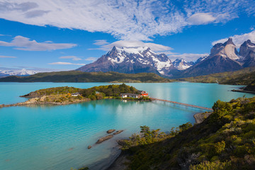 House on the island in the national park Torres del Paine