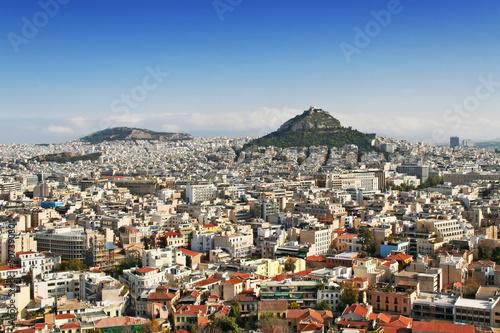 Fotobehang Athene Panorama view of Athens and mount Lycabettus