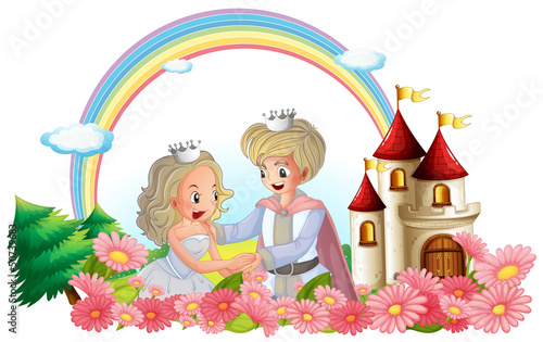 Poster Castle The king and queen in front of their castle