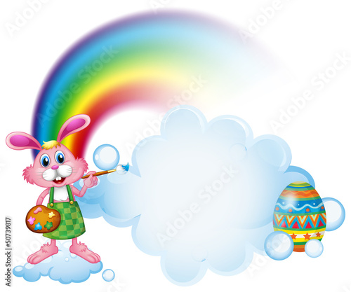 In de dag Regenboog A bunny painting near the rainbow