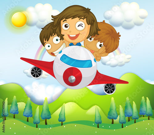 In de dag Regenboog An airplane with three playful kids
