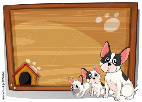 Wall Murals Bears Three dogs in front of a wooden board
