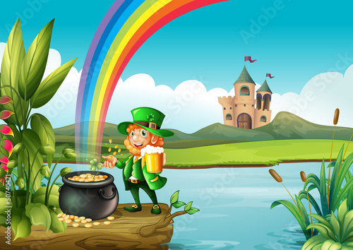 Poster Kasteel A man and a pot of gold above the trunk across the castle