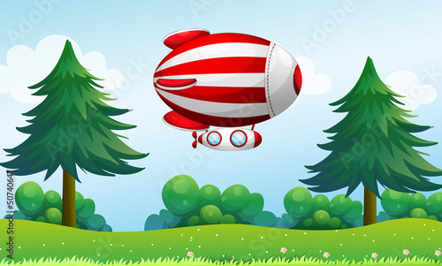 Papiers peints Avion, ballon A stripe aircraft above the field
