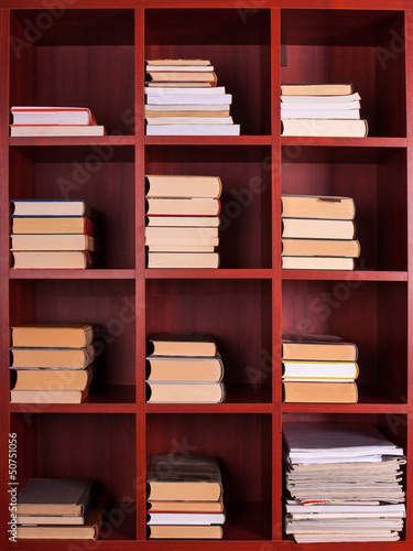 Poster Bibliotheque Books on a brown shelf