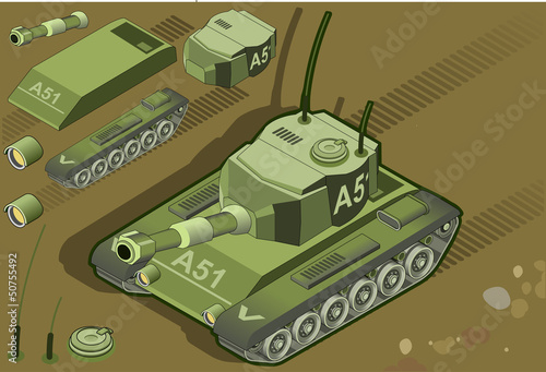 Poster Militaire isometric tank in front view