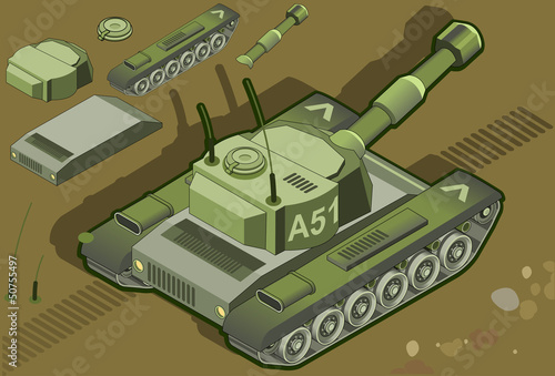 Deurstickers Militair isometric tank in rear view