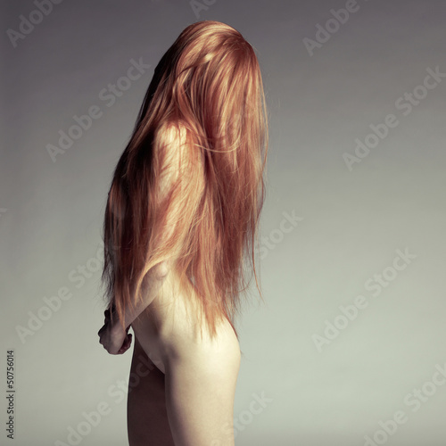 Poster  Beautiful nude woman with magnificent hair