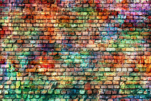 Poster Graffiti grunge colorful wall, empty room