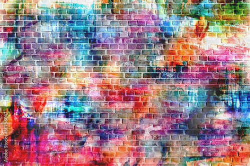 Foto op Aluminium Graffiti colorful grunge art wall illustration