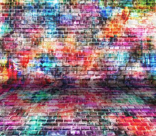 Keuken foto achterwand Graffiti grunge colorful wall, empty room