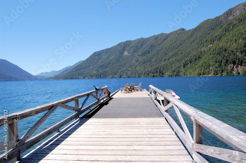 Foto auf AluDibond Pier A Wooden Jetty on a Mountain Lake