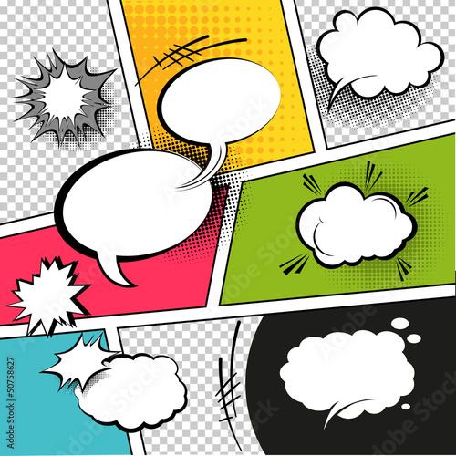 Fotografie, Obraz  Comic Strip Speech Bubbles