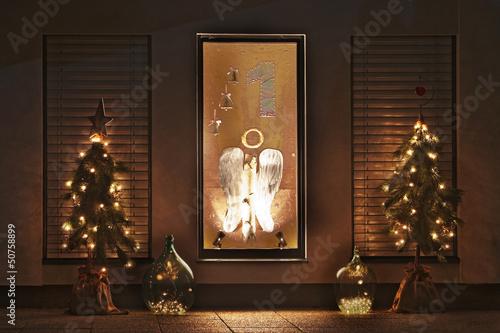 Erster Advent Weihnachten Fensterschmuck Buy This Stock Photo And