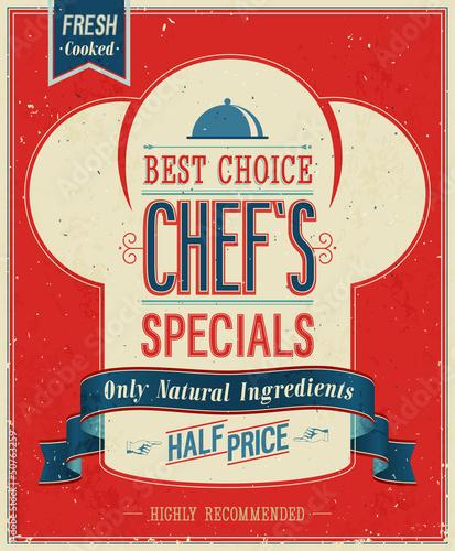 Papiers peints Affiche vintage Vintage Chef`s specials Poster. Vector illustration.