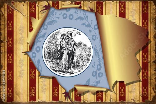 Papiers peints Affiche vintage 3D Aufgerissene Tapete - Blaues Emblem