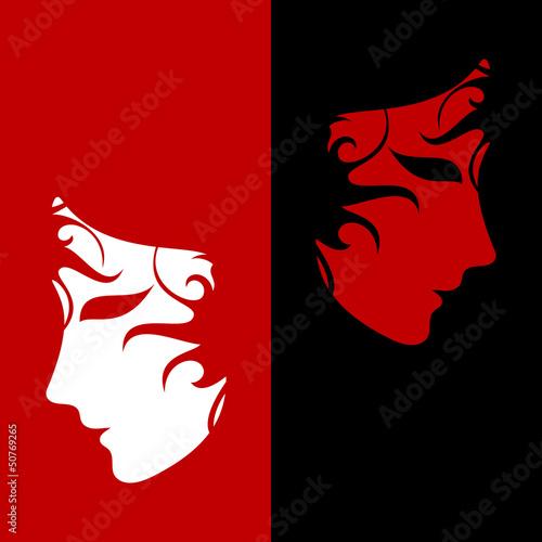 Keuken foto achterwand Rood, zwart, wit two masks