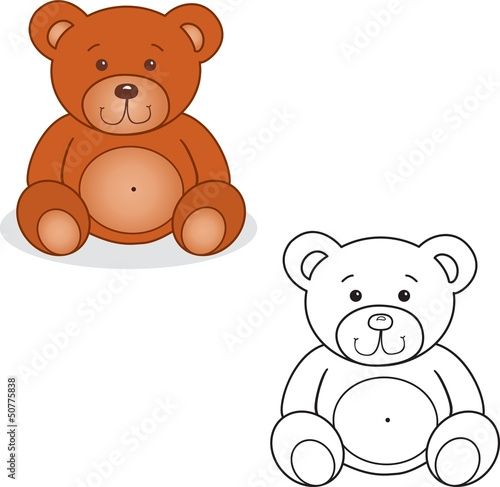 Spoed Foto op Canvas Doe het zelf Coloring book. Bear toy vector illustration.