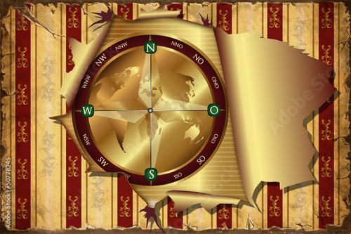 Foto op Plexiglas Vintage Poster 3D Aufgerissene Tapete - Kompass