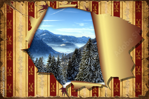 Foto op Plexiglas Vintage Poster 3D Aufgerissene Tapete - Bergwelt