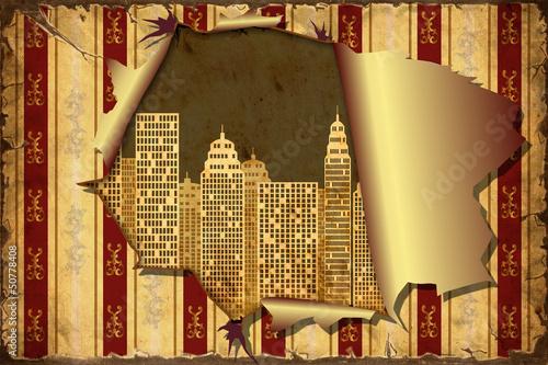 Papiers peints Affiche vintage 3D Aufgerissene Tapete - Skyline