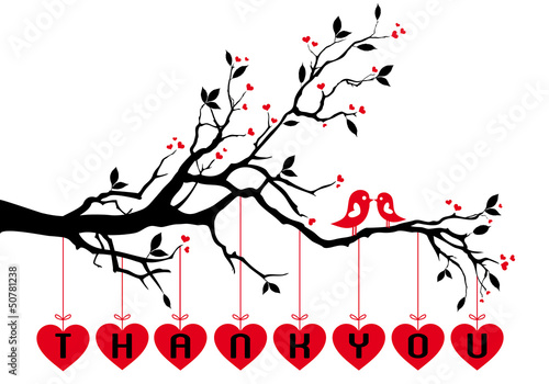 Acrylic Prints Red, black, white birds on tree with red hearts, vector