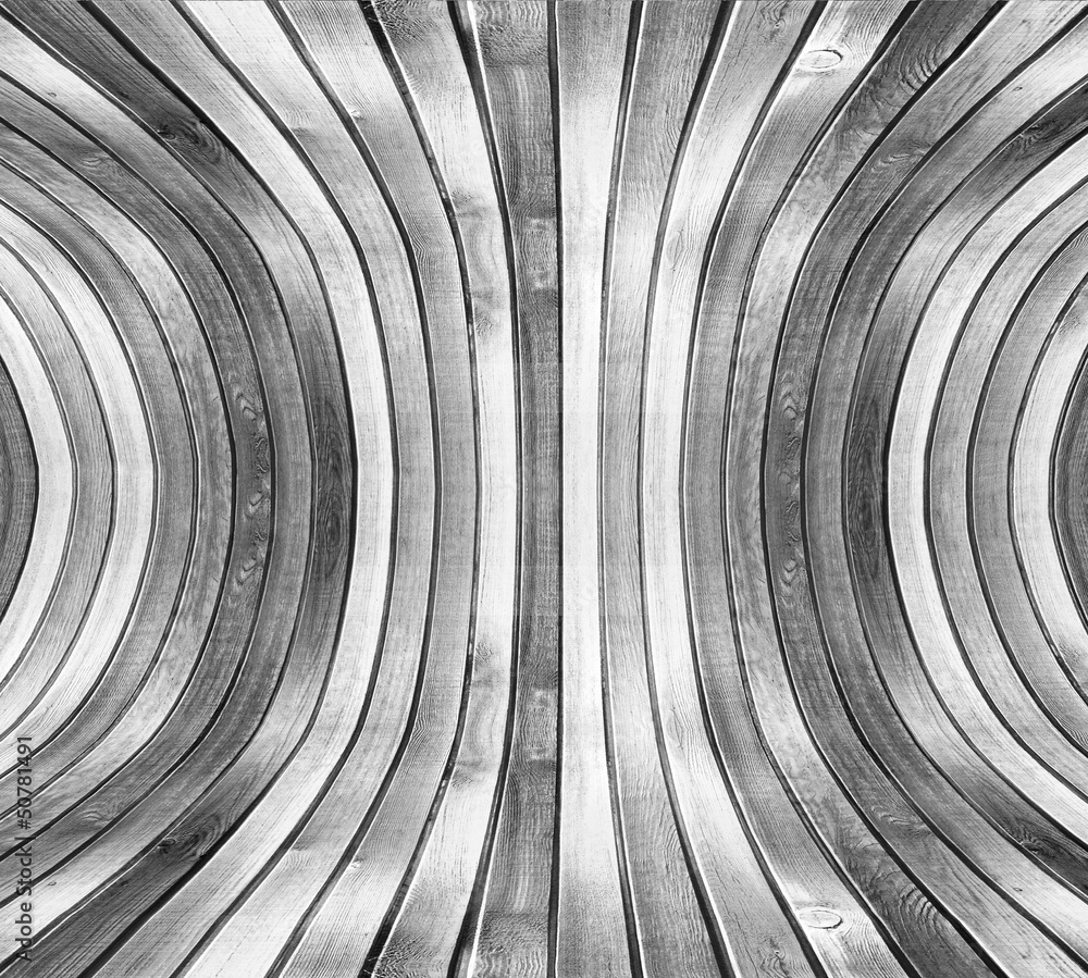 Fototapeta Curved deformed wooden wall