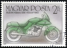 Stamp Shows Image Of A Motorcycle, Suzuki Katana GSX